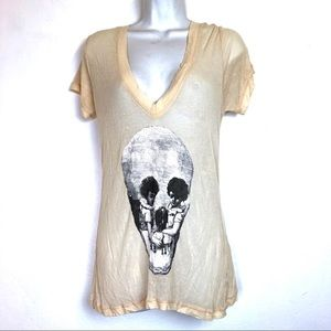 Wildfox yellow ribbed skull shirt size S